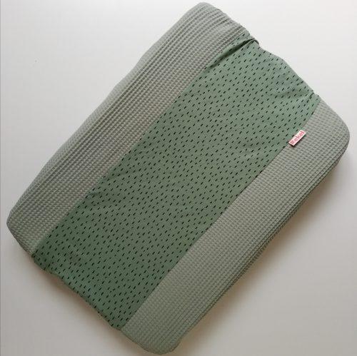 Aankleedkussenhoes groen - kleine druppels groen