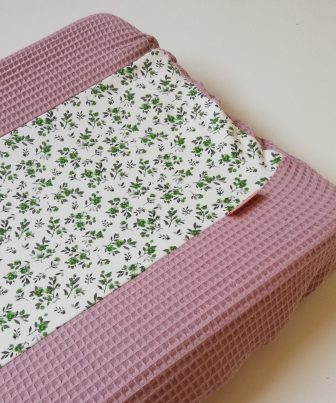 Aankleedkussenhoes oudroze - bloemetjes groen