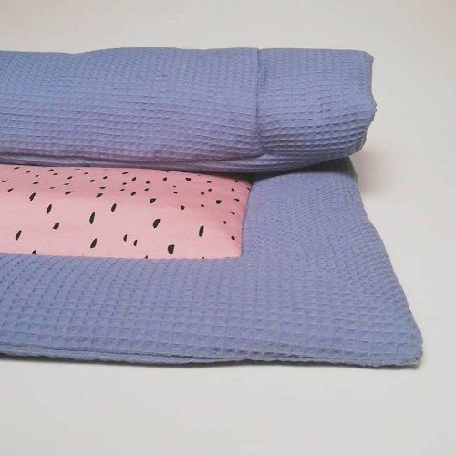 Boxkleed blauw - druppels zachtroze