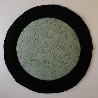 Boxkleed Rond zwart - kleine druppels groen