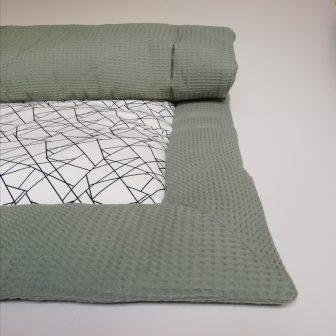Boxkleed groen - geometrisch