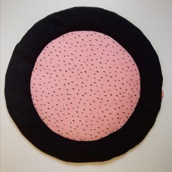 Boxkleed Rond zwart - druppels roze