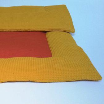 Boxkleed okergeel - oranje spikkel
