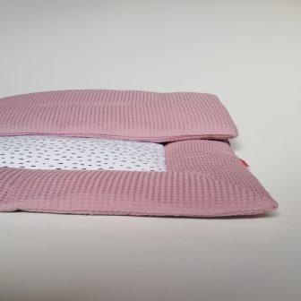 Boxkleed oudroze - kleine druppels wit