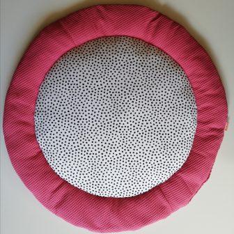 Boxkleed Rond framboos roze - stippen