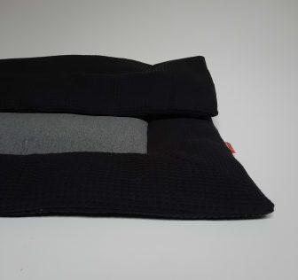 Boxkleed zwart - grijze spikkels