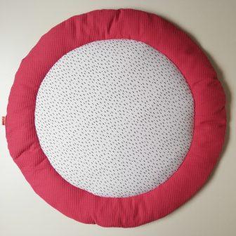 Boxkleed rond framboos roze - kleine druppels wit