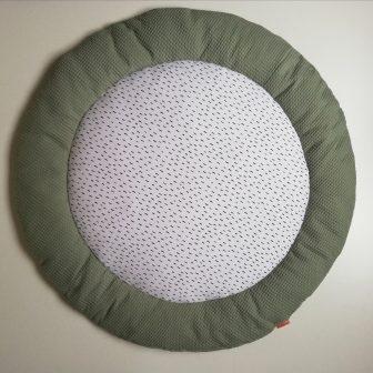 Boxkleed rond groen - kleine druppels wit