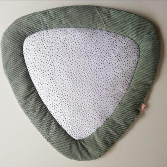 Boxkleed Tripus groen - kleine druppels wit