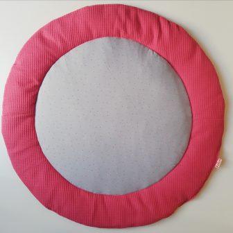 Boxkleed rond framboos roze - confetti grijs