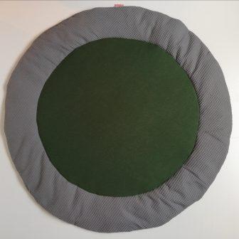 Boxkleed rond grijs - groen met spikkels
