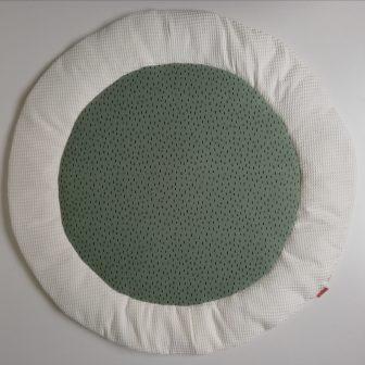 Boxkleed rond wit - kleine druppels groen