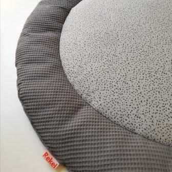 Boxkleed rond detail grijs - spikkeltjes grijs