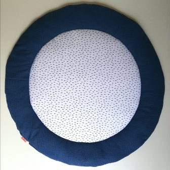 Boxkleed Rond blauw - druppels wit