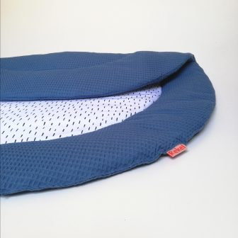 Boxkleed Rond blauw - druppels wit detail