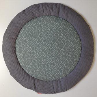 Boxkleed Rond grijs - cirkeltjes groen