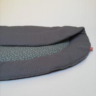 Boxkleed Rond grijs - cirkeltjes groen detail