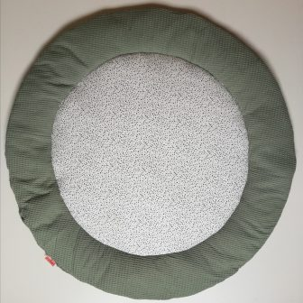 Boxkleed Rond groen - spikkeltjes wit